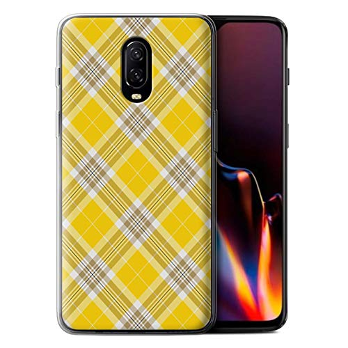 STUFF4 Gel TPU Phone Case/Cover for OnePlus 6T / Yellow Design/Tartan Picnic Pattern Collection ()