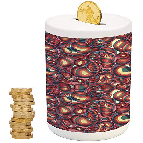 Paisley,Ceramic Baby Bank,Printed Ceramic Coin Bank Money Box for Cash Saving,Modern Paisley Pattern with Ethnic Sprit in a Funky Inspired Graphic Design Print ()