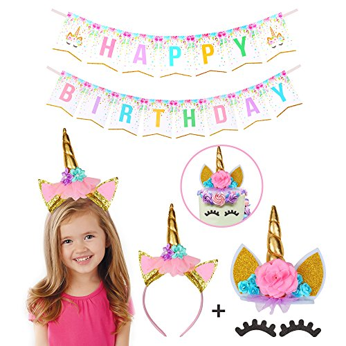 - Unicorn Themed Cake Topper Set – Decorative Birthday Cake Topper with Cute Eyelashes And Unicorn Horn– Non-Toxic and Reusable – BONUS Birthday Banner and Unicorn Headband