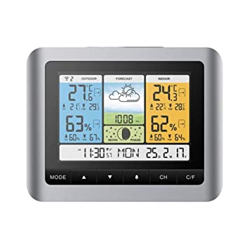 Display LCD A Colori Di Grandi Dimensioni/Multifunzione/Sveglia Elettronica, Igrometro Digitale per Interni Termometro per Esterni: Amazon.es: Hogar