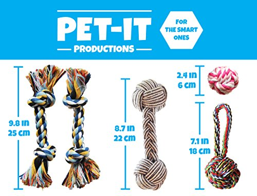 Premium-Set-of-5-Puppy-Teething-Toys-Chew-Dog-Toys-for-Small-to-Medium-Dogs-by-Pet-It-Productions
