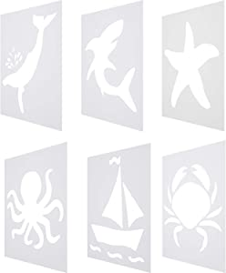 6 Pieces Chalk Stencil Set Plastic Painting Templates Include Shark, Starfish, Sailboat, Octopus, Whale, and Crab Pattern for Kids Ocean Theme Crafts Drawing