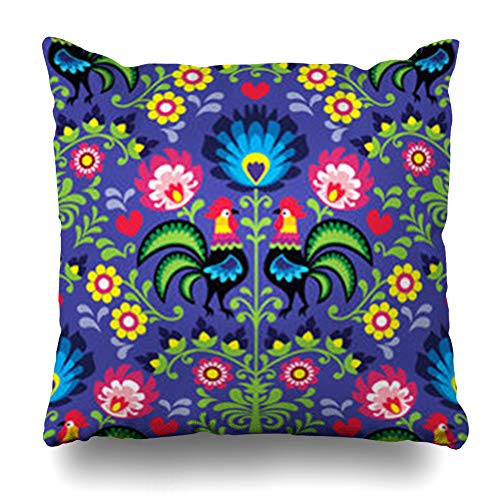 Decor Champ Throw Pillow Covers Nature Polish Folk Art Pattern Roosters Embroidery Vintage Floral Ethnic Green Poland Heart Home Decor Sofa Pillowcase Square Size 16 x 16 Inches Cushion Cases