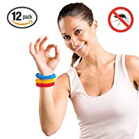 Hoont™ Natural Mosquito Repellent Stretchable Wristband – Pack of 12 / Powerful Indoor & Outdoor Protection – Special Formulated Natural Plant-derived Ingredients - (Assorted Colors)