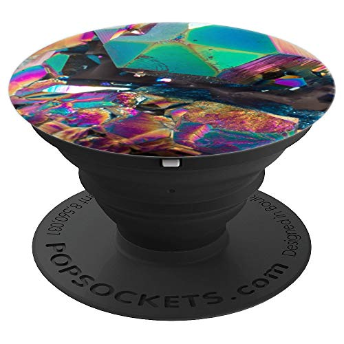 Pedestal Style Cluster - Green Iridescent Unicorn Heart Geode Rainbow Crystal Gem - PopSockets Grip and Stand for Phones and Tablets