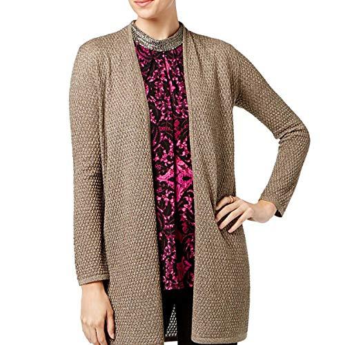 ALFANI Women's Metallic Long Sleeve Open Front Cardigan Sweater Top