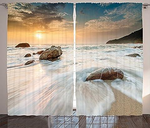 Seaside Decor Curtains 2 Panel Set Grand Sea Waves on the Beach and Horizon Sky Holiday Calm Dream Light Season Photo Living Room Bedroom Decor Cream Blue White - Seaside Dreams Panel Bed