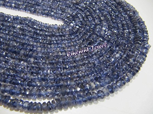 Eminent AA Quality Natural Iolite Rondelle Faceted Beads / 3-4mm Size Genuine Iolite Gemstone Beads/ 14 inch Long Strand/Semi Precious Gemstones ()