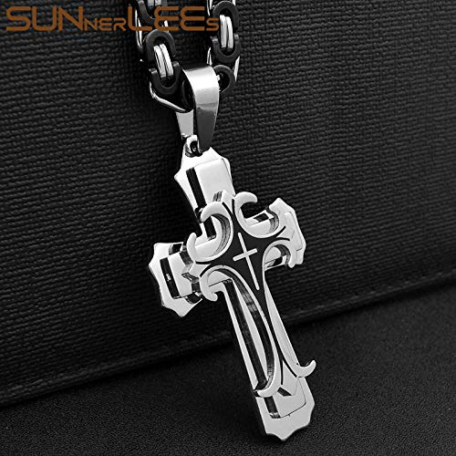 Metal Color: Gold-Silver-Black, Length: 55cm Davitu Stainless Steel Jesus Christ Cross Pendant Necklace Byzantine Link Chain Gold Color for Men SP208
