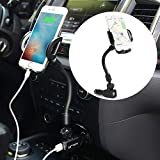 Car Phone Mount, 3-In-1 Cigarette Lighter Car Mount Charger Universal Phone Holder for Car Compatible with IPhone X 8 8 Plus 7 7 Plus Se 6s 6 Plus 6 5s 5 Galaxy S6 S5 S4 LG Nexus Sony Nokia Huawei etc