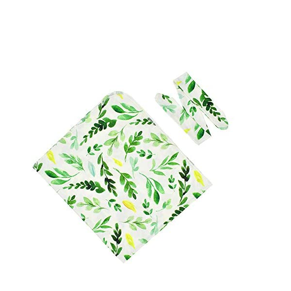 Hixixi Newborn Baby Soft Receiving Blankets Swaddle Wraps Swaddling Blankets and Headband Value Set for Infant Boy or Girl Personalized Baby Gifts Green Leaves (Green Leaves)