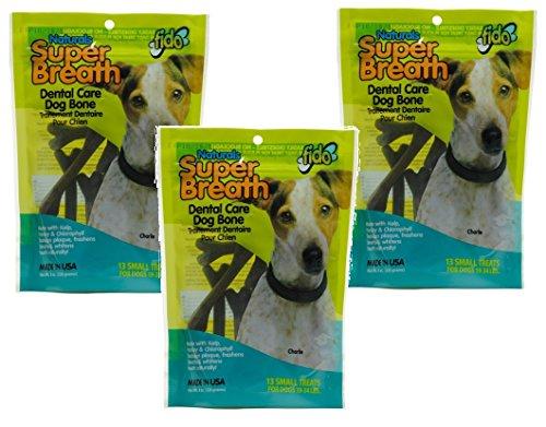 34 Lb Adult Dog - (3 Pack) Fido Super Breath Dental Dog Bones With Added Chlorophyll, 13 Treats each
