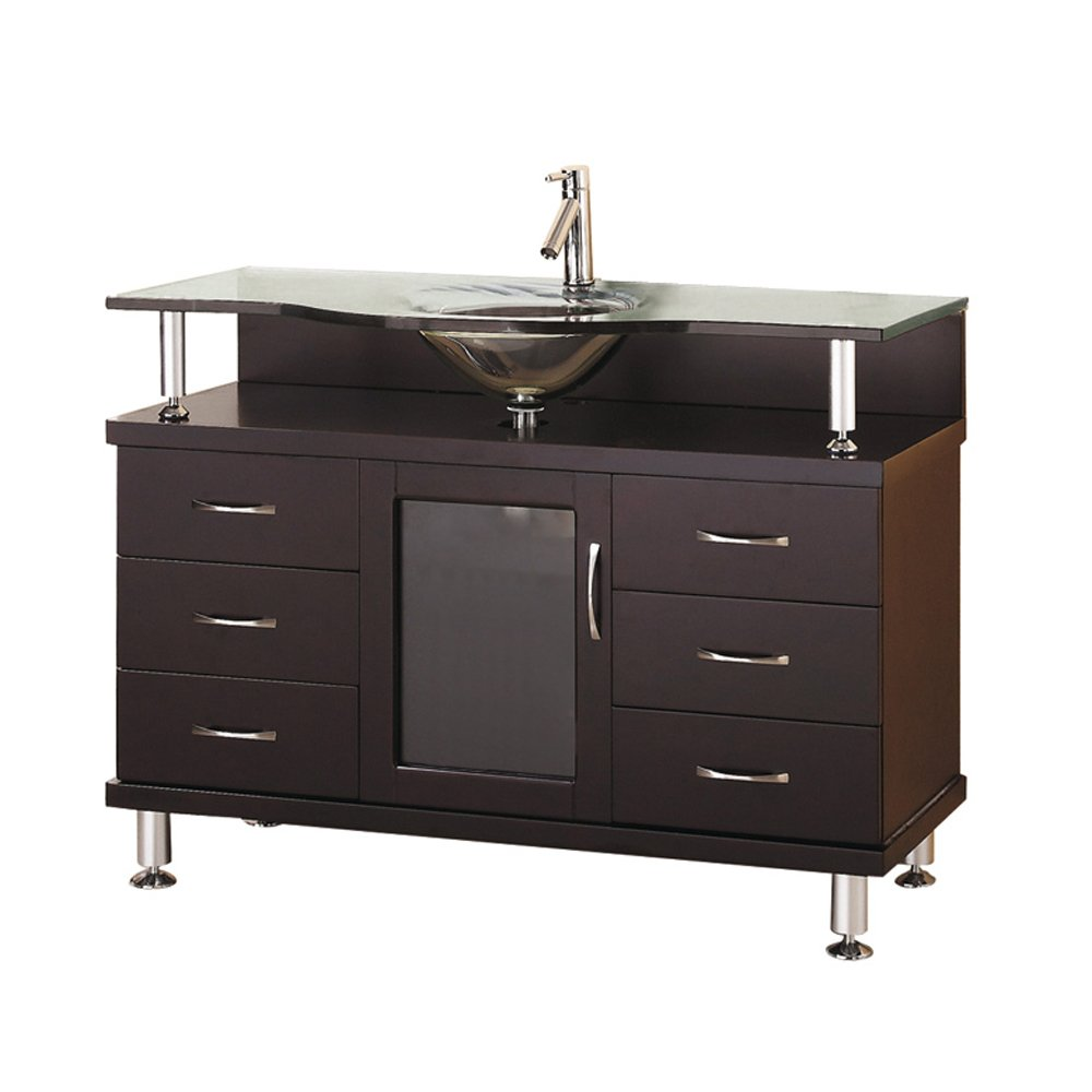 Virtu USA MS-48-G-ES Vincente 48-Inch Single Sink Bathroom Vanity with Includes Tempered Glass Countertop with Integrated Glass Basin, Espresso Finish by Virtu USA (Image #1)