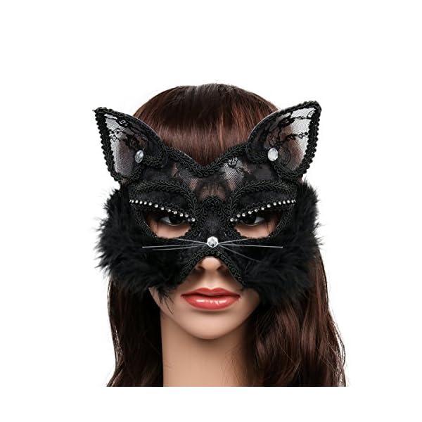 Cusfull Masque de Mascarade Sexy en Dentelle Masque de Chat Femme Masque Venitien pour Déguisements Soirée Halloween…