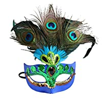 Acchen Peacock Halloween Mask Cosmetic Party Favor Performances Peacock Feather Mask