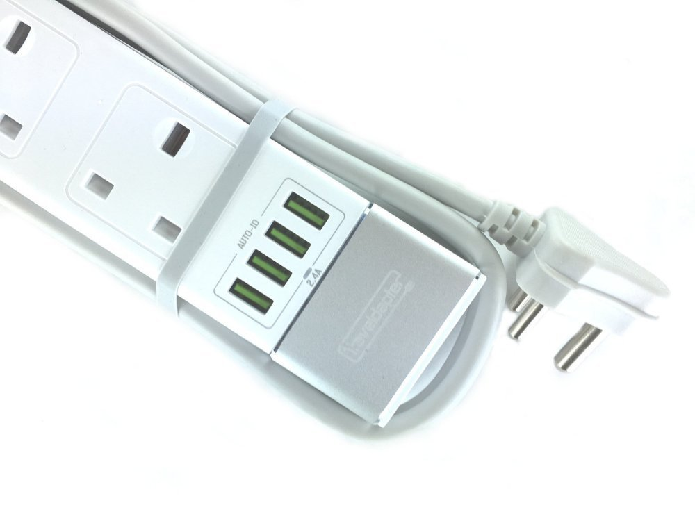 Traveldapter INDIA Multi Extension Lead 2 Pin Plug 4 UK: Amazon.co ...