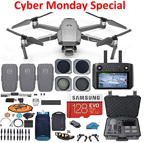DJI Mavic 2 PRO Drone Quadcopter Fly More Combo with Hasselblad Camera, with Smart Controller, 3 Batteries, Hard Case, ND, CPL Lens Filters, 128GB SD Card Bundle Kit with Must Have Accessories from DJI