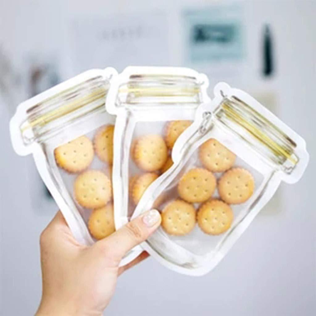 SUGEER 10Pc Preservation Fridge Freezing Food Storage Reusable PE Food Storage Bag - Preservation Container -BPA-Free Preservation Fridge Freezing Jar Bags Fresh Produce Leak Proof Food Saver Bags