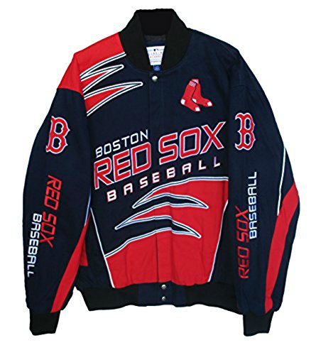 Boston Red Sox Adult Large Embroidered Shark Jacket - Navy Blue & (Navy Blue Boston Red Sox Jacket)