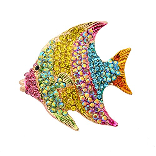 OBONNIE Vintage Colorful Crystal Rhinestone Animal Fish Pin Brooch Skirt Dress Jewelry with Gift Box (Gold)