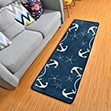 Retro Nautical Anchors Navy Kitchen Rugs Non-Slip Soft Doormats Bath Carpet Floor Runner Area Rugs for Home Dining…