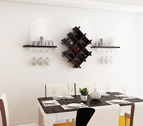 Wall Mount Metal Wine Rack Bottle Holder Wine Glass Storage Unit 2 Floating Shelves Bar Accessories Shelving Organiser Countertop Application for Restaurants, Bars, Daily Home ( Color : Black ()