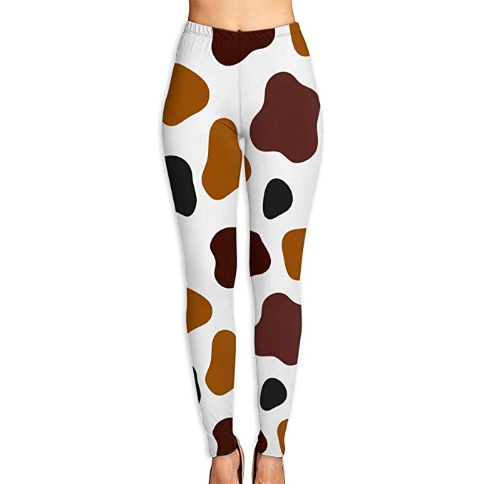 3502f97e7223 Amazon.com: Norman&New Women's Womens Pants Cow Spots Brown Black Yoga  Leggings for Workout Running Fitness Sports Gym: Clothing