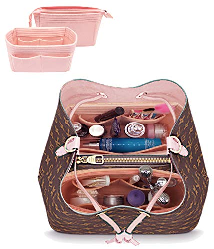 LEXSION Organizer,Bag Organizer,Insert purse organizer with 2 packs in one set fit LV NeoNoe No Series perfectly Pink