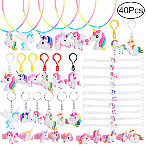 Hicdaw Necklace for Unicorn Party Favors Xmas Gift 40 Pcs Bracelets Kit Key Chain Set Rings for Unicorn Party Supplies - Toys for Unicorn Themed Decoration Gift for Kids