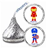 216 Super Hero Ironman & Captain America Hershey Kiss Stickers Labels Party Favors