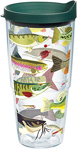 Tervis 1216019 Freshwater Fish and Lures Tumbler with Wrap and Hunter Green Lid 24oz, Clear