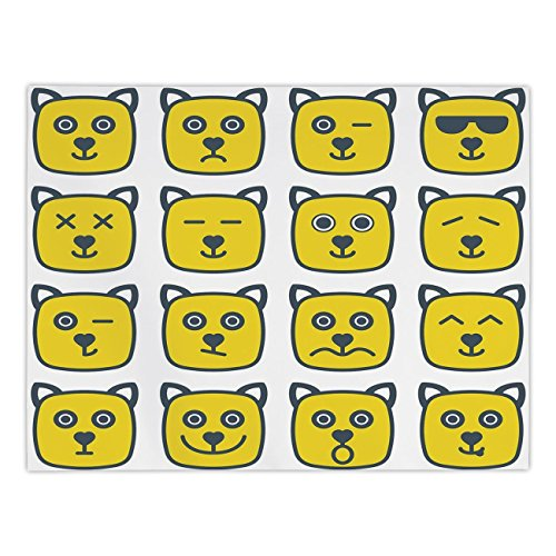 iPrint Rectangular Satin Tablecloth,Emoji,Cat Dog like Animal Smiley Face with Expressions Angry Happy Sad Fancy Moods Art,Yellow and Grey,Dining Room Kitchen Table Cloth -