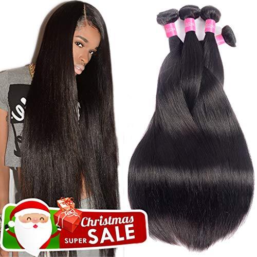 Hair Human Remy (10A Brazilian Virgin Hair Straight Remy Human Hair Weave 4 Bundles 20 22 24 26Inch 100% Unprocessed Brazilian Straight Hair Bundles Natural Black Color Straight Hair Extensions)