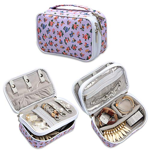 (Teamoy Jewelry Travel Case, Jewelry & Accessories Holder Organizer for Necklace, Earrings, Rings, Watch and More, Roomy, Compact and Portable, Flowers)