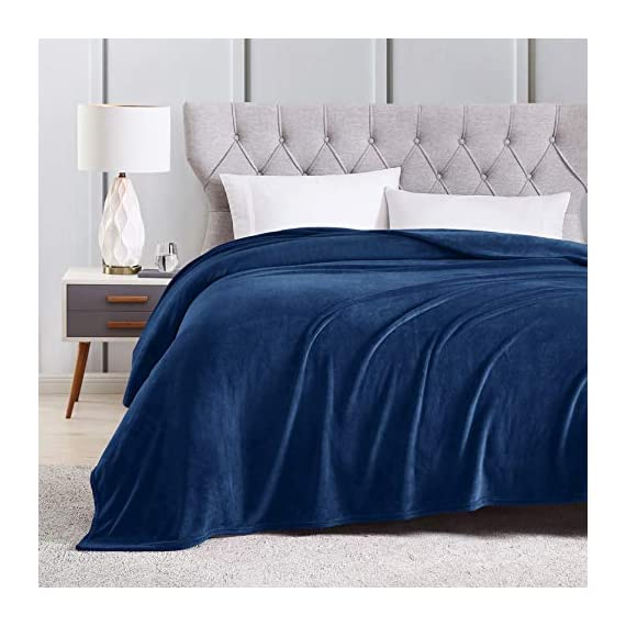 EXQ Home Fleece Blanket Navy Throw Blanket for Couch or Bed - Microfiber Fuzzy Flannel Blanket for Adults or Kids - All weather blanket! EXQ Home winter throw blankets are made of 260 GSM microfiber that can bring warmth and comfortable whether you're on the couch watching TV or reading in bed.(Measures:50 x 60 inches) Irreplaceable Choice! Are you disappointed that you have bought a shedding or pilling blanket?Do you think some blankets are too expensive?Fortunately,you have found us.EXQ Home flannel blanket have exquisite craftsmanship.We refuse to provide inferior products to customers. Perfect Gift! If you are searching for gifts.Our fuzzy blanket can satisfy you.It can be used for travel ,office or bedroom.The babys, adults or pets all will love it.Who would not like a furry blanket? - blankets-throws, bedroom-sheets-comforters, bedroom - 51ICsppeDFL. SS570  -