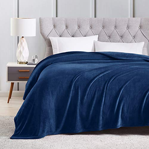EXQ Home Fleece Blanket King Size Navy Throw Blanket for Bed or Couch - Super Soft Microfiber Fuzzy Flannel Blanket for Adults or Pet (Lightweight,Non Shedding) (Blue Fleece Blanket)