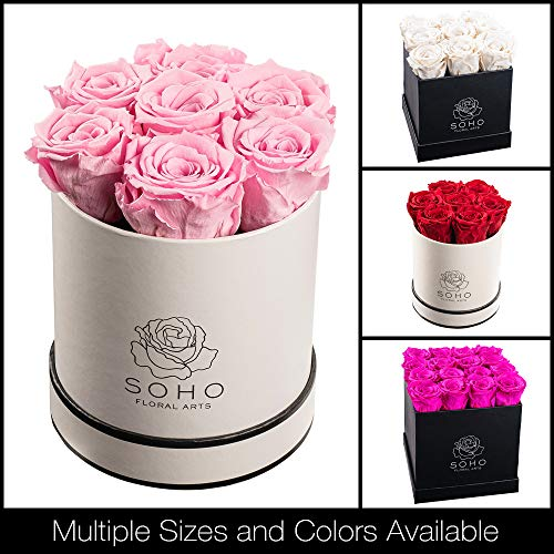 Soho Floral Arts | Real Roses That Last a Year and More| Roses in a Box |Eternal Roses in a Box (Pink 7 X-Large Roses)