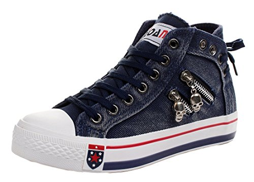 iMaySon Women Skull Fashionable Zipper Shoes Lace-up Flats Canvas Sneakers(5.5 B(M) US, Navy)