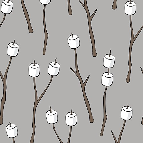 Marshmallows Fabric Roasting Marshmallows On Light Grey by Littlearrowdesign Printed on Basic Cotton Ultra Fabric by the Yard by Spoonflower