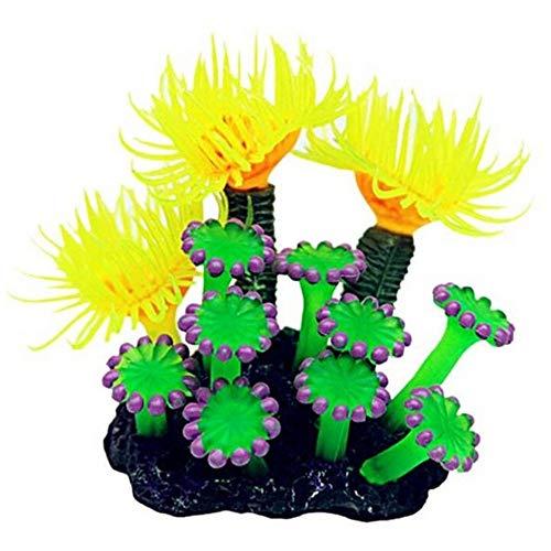 yingyue Soft Coral Artificial Water Plant Decor Aquarium Fish Tank Ornament with Base - ()