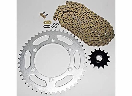 1990-1996, 2001-03 Suzuki RM250 Gold O Ring Chain and Sprocket Silver 13/49 114L CycleATV