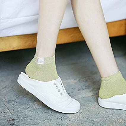 DeemoShop Women Glitter Socks Harajuku Novelty Vintage Shiny Silver Onions Female Socks Retro Sliver Gold Silk
