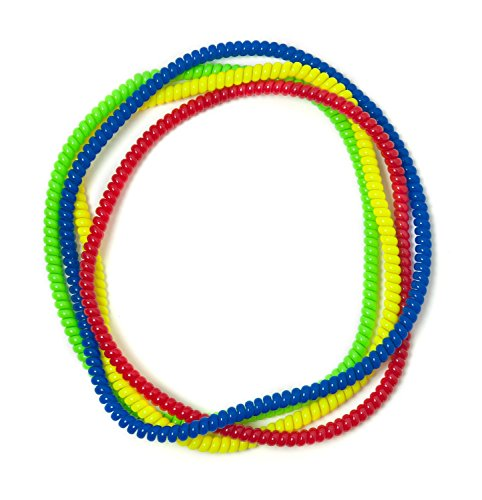 Chewable Jewelry Large Coil Necklace - Fun Sensory Motor Aid - Speech And Communication Aid - Great For Autism And Sensory-Focused Kids 4 Pack 4 Colors