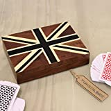 Teak Playing Cards Box with Twin Deck Cards Luxury Union Jack Lid Velvet Lined