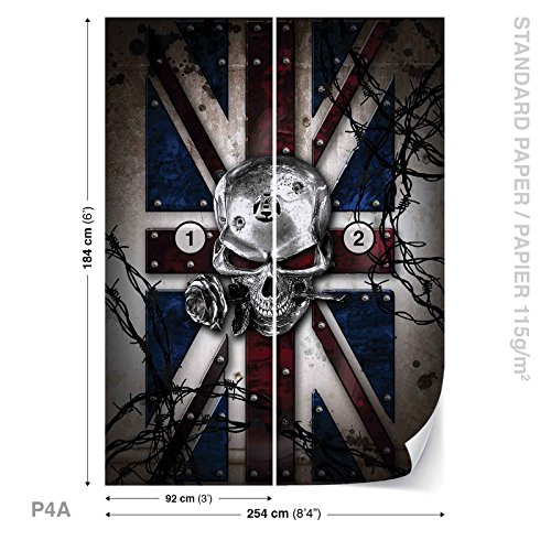 Alchemy Skull Union Jack Tattoo Wall Mural Photo Wallpaper Room Décor (2376WS) (Union Jack Tattoos)
