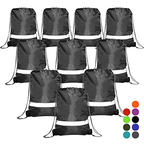 BeeGreen Black Drawstring Backpack Bags Reflective 10 Pack, Promotional Sport Gym Sack Cinch Bag -
