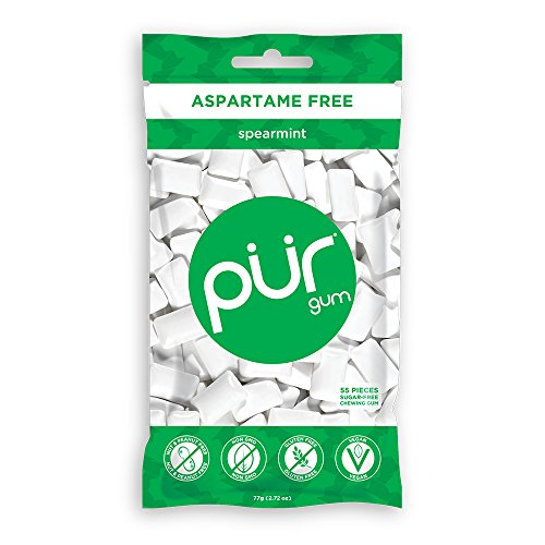 The PUR Company  | Sugar-Free + Aspartame-Free Chewing Gum  | 100% Xylitol  | Spearmint | Vegan + non GMO  | 55 Pieces per Bag