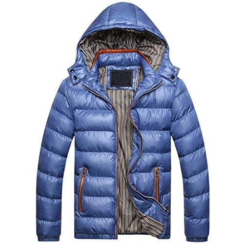 Warm Thickened Hooded Coat College Zipper Coat Outerwear fashion Comfortable Down Men's Blau Jacket Winter HX Clothing Sizes Eq0xA7ptwn