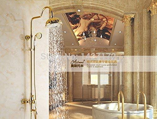 "ZY-YY 蛇口卸売小売Modren NEW豪華なバスルーム8"" ゴールデン真鍮完成シャワーの蛇口ミキサータップ、イエロー"