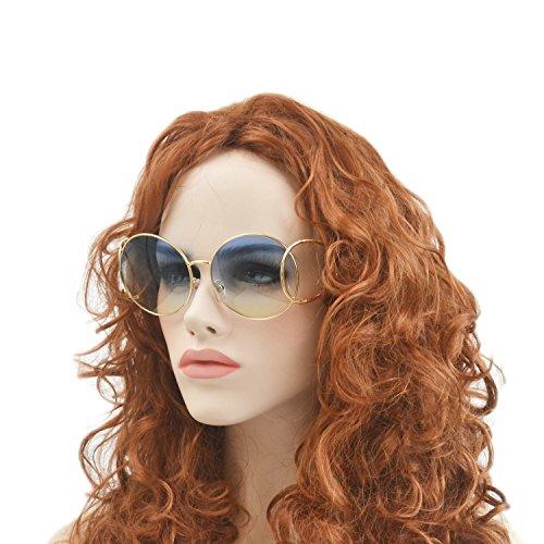 Designer Celebrity Inspired Sunglasses With Box (gold-blueyellow, gold-blueyellow) ()